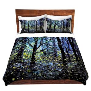 Artistic Duvet Covers and Shams Bedding | Aja Ann - Fireflies | Abstract Landscape Trees
