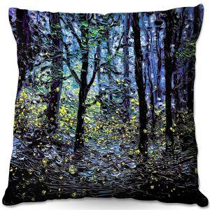 Decorative Outdoor Patio Pillow Cushion   Aja Ann - Fireflies   Abstract Landscape Trees