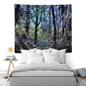 Artistic Wall Tapestry | Aja Ann - Fireflies | Abstract Landscape Trees