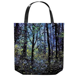 Unique Shoulder Bag Tote Bags | Aja Ann - Fireflies | Abstract Landscape Trees