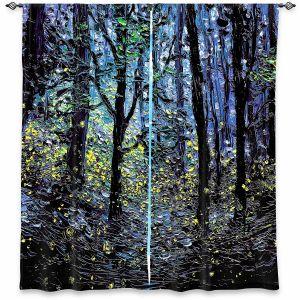 Decorative Window Treatments | Aja Ann - Fireflies | Abstract Landscape Trees