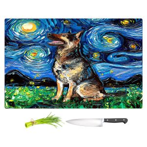 Artistic Kitchen Bar Cutting Boards | Aja Ann - German Shepherd | Starry Night Dog Animal