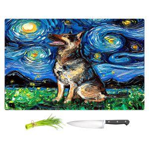 Artistic Kitchen Bar Cutting Boards | Aja Ann - German Shepherd | Starry Night Dog Animal