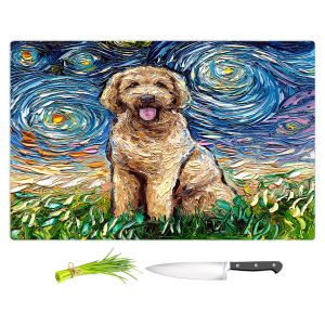 Artistic Kitchen Bar Cutting Boards | Aja Ann - Golden Doodle Dog | Starry Night Dog Animal