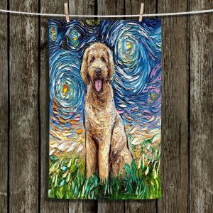 Unique Bathroom Towels | Aja Ann - Golden Doodle Dog | Starry Night Dog Animal