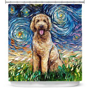 Premium Shower Curtains | Aja Ann - Golden Doodle Dog | Starry Night Dog Animal