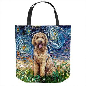 Unique Shoulder Bag Tote Bags | Aja Ann - Golden Doodle Dog | Starry Night Dog Animal