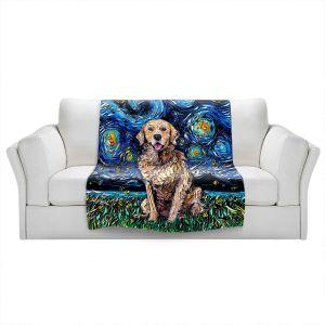 Artistic Sherpa Pile Blankets   Aja Ann - Golden Retriever   Starry Night Dog Animal