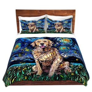 Artistic Duvet Covers and Shams Bedding | Aja Ann - Golden Retriever | Starry Night Dog Animal