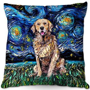 Throw Pillows Decorative Artistic | Aja Ann - Golden Retriever | Starry Night Dog Animal