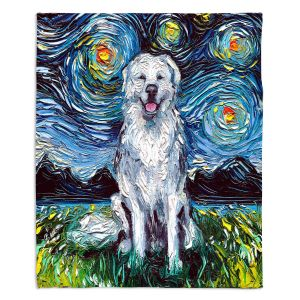 Decorative Fleece Throw Blankets | Aja Ann - Great Pyrenese Dog | Starry Night Dog Animal