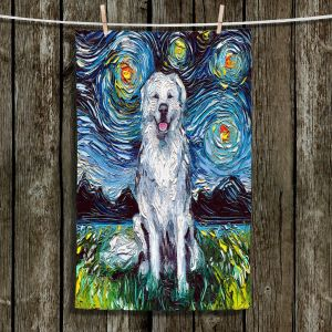 Unique Hanging Tea Towels | Aja Ann - Great Pyrenese Dog | Starry Night Dog Animal