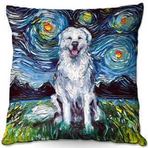 Throw Pillows Decorative Artistic | Aja Ann - Great Pyrenese Dog | Starry Night Dog Animal