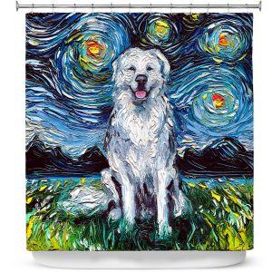 Premium Shower Curtains | Aja Ann - Great Pyrenese Dog | Starry Night Dog Animal