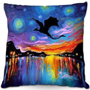 Throw Pillows Decorative Artistic | Aja Ann - Harbor Dragon | Starry Night van Gogh, dragons