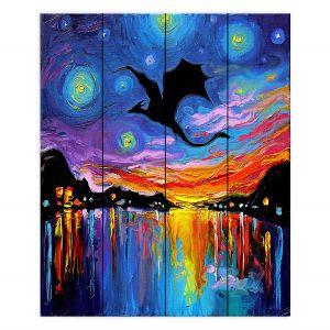 Decorative Wood Plank Wall Art | Aja Ann - Harbor Dragon | Starry Night van Gogh, dragons