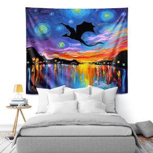 Artistic Wall Tapestry | Aja Ann - Harbor Dragon | Starry Night van Gogh, dragons