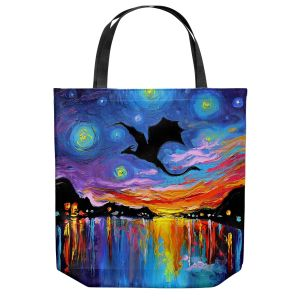 Unique Shoulder Bag Tote Bags | Aja Ann - Harbor Dragon | Starry Night van Gogh, dragons