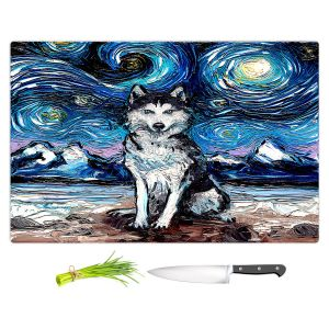 Artistic Kitchen Bar Cutting Boards | Aja Ann - Husky | Starry Night Dog Animal