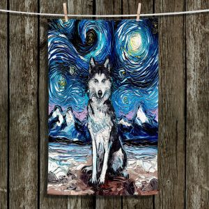 Unique Bathroom Towels | Aja Ann - Husky | Starry Night Dog Animal
