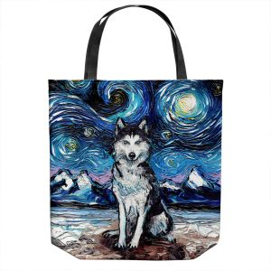 Unique Shoulder Bag Tote Bags | Aja Ann - Husky | Starry Night Dog Animal
