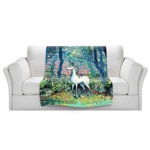 Artistic Sherpa Pile Blankets   Aja Ann - Shadow Forest   Unicorn