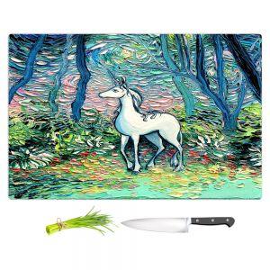 Artistic Kitchen Bar Cutting Boards | Aja Ann - Shadow Forest | Unicorn