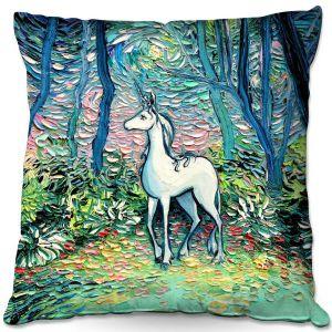 Decorative Outdoor Patio Pillow Cushion   Aja Ann - Shadow Forest   Unicorn