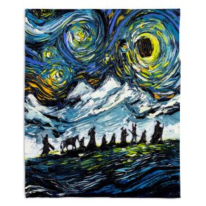 Decorative Fleece Throw Blankets   Aja Ann - Lord of Fellowship   Mountains, Lord of the Rings, Starry Night van Gogh