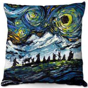 Throw Pillows Decorative Artistic | Aja Ann - Lord of Fellowship | Mountains, Lord of the Rings, Starry Night van Gogh