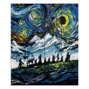 Decorative Wood Plank Wall Art | Aja Ann - Lord of Fellowship | Mountains, Lord of the Rings, Starry Night van Gogh