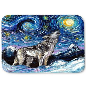 Decorative Bathroom Mats | Aja Ann - Lupine Night | Starry Night Dog Animal