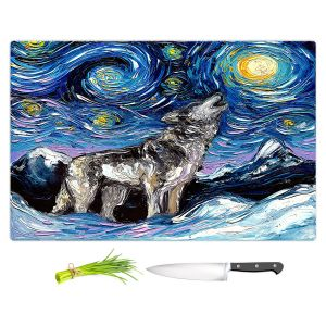 Artistic Kitchen Bar Cutting Boards   Aja Ann - Lupine Night   Starry Night Dog Animal