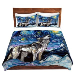 Artistic Duvet Covers and Shams Bedding | Aja Ann - Lupine Night | Starry Night Dog Animal