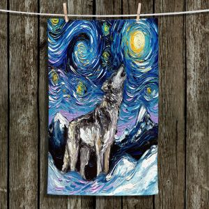 Unique Bathroom Towels | Aja Ann - Lupine Night | Starry Night Dog Animal