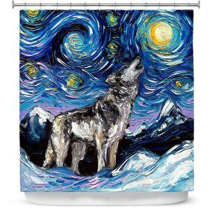 Premium Shower Curtains | Aja Ann - Lupine Night | Starry Night Dog Animal