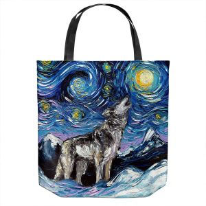 Unique Shoulder Bag Tote Bags | Aja Ann - Lupine Night | Starry Night Dog Animal