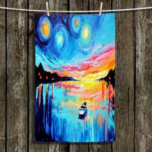 Unique Hanging Tea Towels | Aja Ann - Midnight Harbor L | Boats Water Moonlight Seascapes