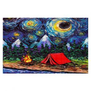 Decorative Floor Covering Mats | Aja Ann - Off the Beaten Path | Camping, Fire Pit, Tent, Mountains, Starry Night van Gogh
