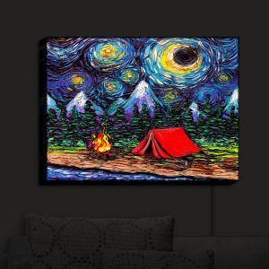 Nightlight Sconce Canvas Light | Aja Ann - Off the Beaten Path | Camping, Fire Pit, Tent, Mountains, Starry Night van Gogh