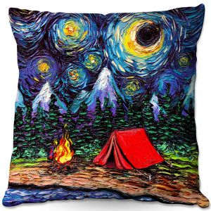 Throw Pillows Decorative Artistic | Aja Ann - Off the Beaten Path | Camping, Fire Pit, Tent, Mountains, Starry Night van Gogh