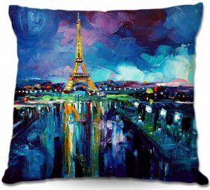 Throw Pillows Decorative Artistic   Aja-Ann Parisian Night Eiffel Tower