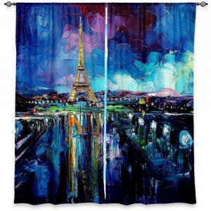 Unique Window Curtains Lined 80w x 52h from DiaNoche Designs by Aja Ann - Parisian Night Eiffel Tower