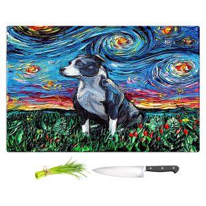 Artistic Kitchen Bar Cutting Boards   Aja Ann - Pitbull   Starry Night Dog Animal