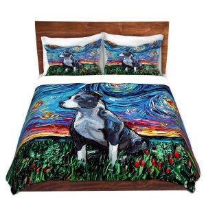 Artistic Duvet Covers and Shams Bedding | Aja Ann - Pitbull | Starry Night Dog Animal