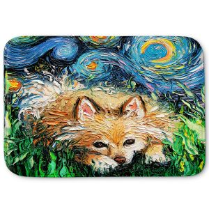 Decorative Bathroom Mats | Aja Ann - Pomeranian Night | Dog, Starry Night van Gogh