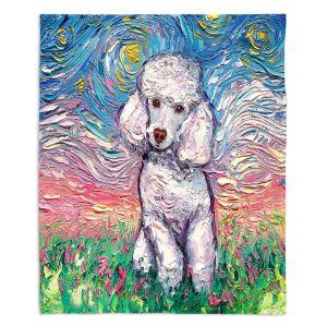 Decorative Fleece Throw Blankets | Aja Ann - Poodle White | Starry Night Dog Animal