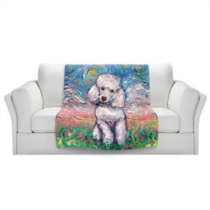 Artistic Sherpa Pile Blankets   Aja Ann - Poodle White   Starry Night Dog Animal
