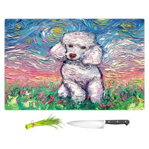 Artistic Kitchen Bar Cutting Boards   Aja Ann - Poodle White   Starry Night Dog Animal