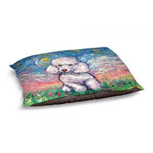 Decorative Dog Pet Beds | Aja Ann - Poodle White | Starry Night Dog Animal